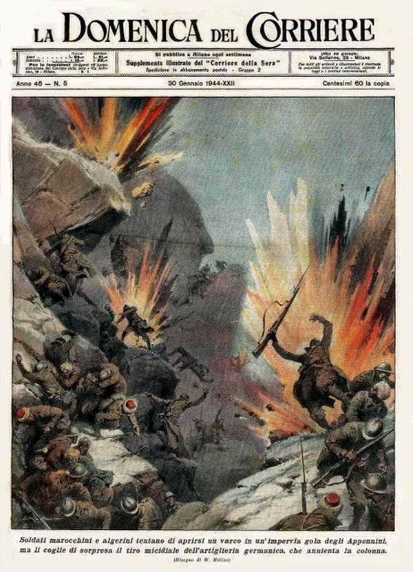 Воинские подразделения, набранные из числа алжирцев и мароканцев, пытаются прорваться через непроницаемые ущелья итальянских Апеннин - Walter Molino