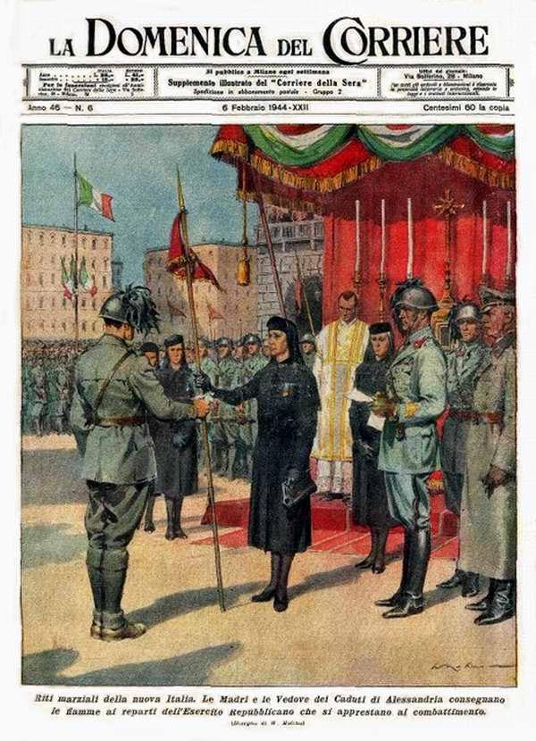 Матери и вдовы павших героев в городе Алессандрии провели вручение вымпелов солдатам новых полков республиканской армии - Walter Molino