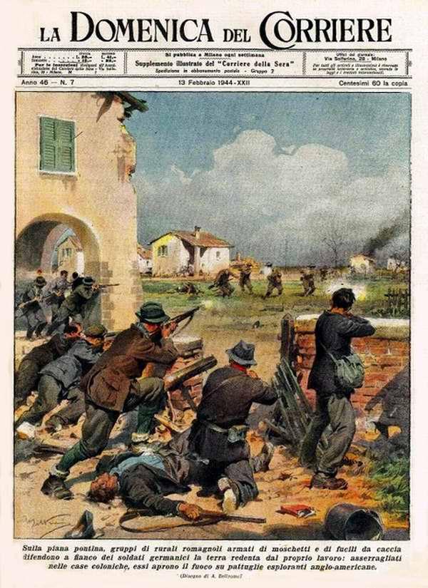 Группы сельские жители Понтийской равнины, вооруженные винтовками и дробовиками, вместе с немецкими солдатами выступают на защиту своей родной земли - Achille Beltrame