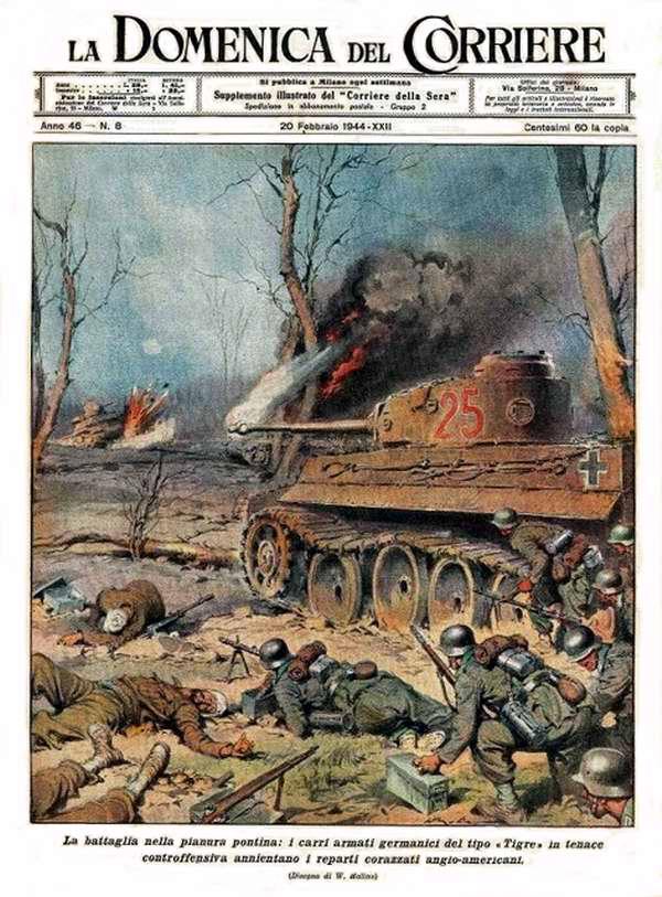 Битва на Понтийской равнине: могучие немецкие Тигры за очень короткое время сумели уничтожить там танковый корпус англо-американцев - Walter Molino