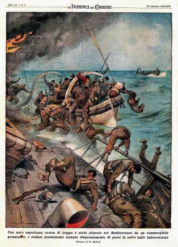 Американский корабль, загруженный войсками, был торпедирован немецкой подводной лодкой в Средиземном море - Walter Molino