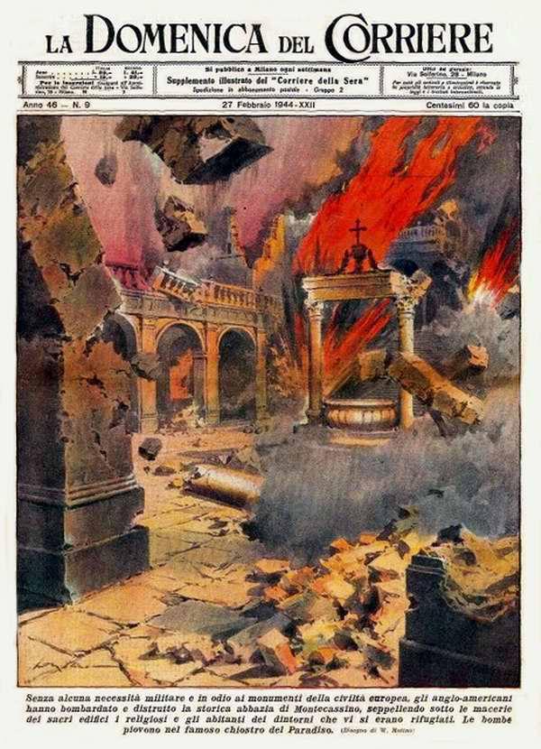 Англо-американцы разбомбили и уничтожили аббатство Монте-Кассино - Walter Molino