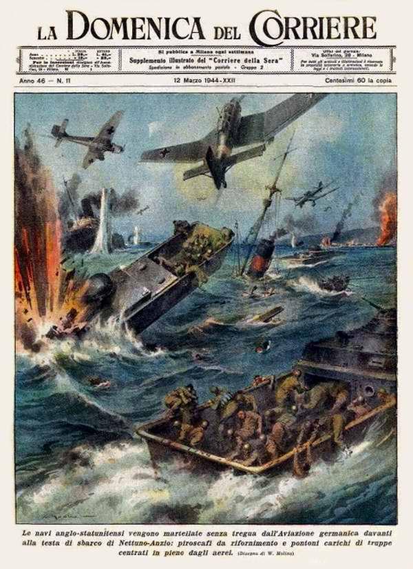 Англо-американские корабли у плацдарма Анцио-Неттуно были подвергнуты мощным и непрекращающимся налетам со стороны немецкой авиации - Walter Molino