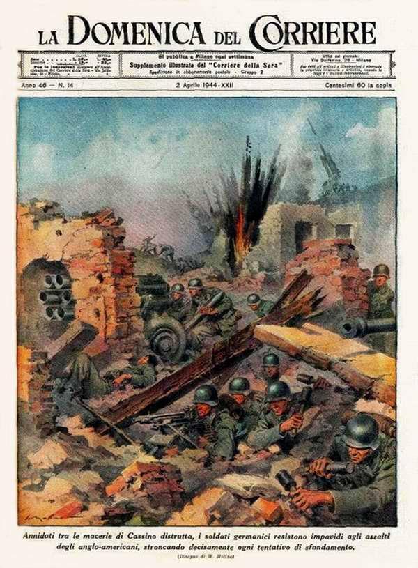 В развалинах практически уничтоженного Кассино немецкие солдаты мужественно противостоят наступлению англо-американцев - Walter Molino