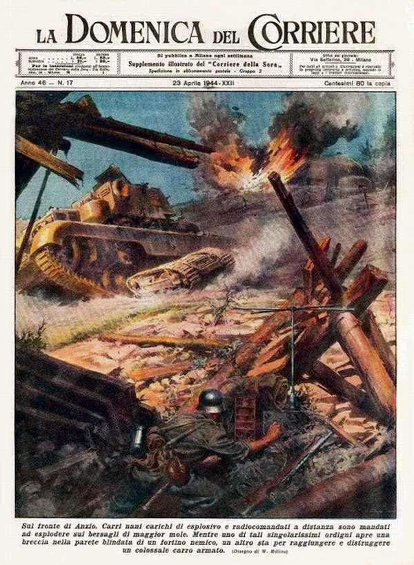 На передовой у Анцио. Миниатюрные дистанционно управляемые танки с мощными взрывными зарядами были использованы немецкими войсками для осуществления взрыва объектов большего размера - Walter Molino