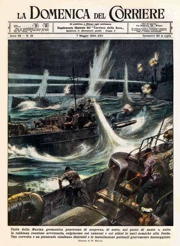 Группа торпедных катеров немецкого военно-морского флота сумела незаметно проникнуть в бухту порта Анцио и открыть огонь по вражеским кораблям - Walter Molino