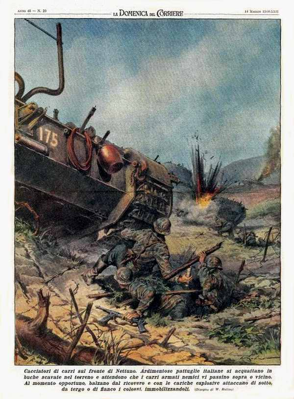 Группы наиболее отважных итальянских солдат имеют обыкновение прятаться в специально вырытых норах, в которых они поджидают приближения вражеских танков - Walter Molino