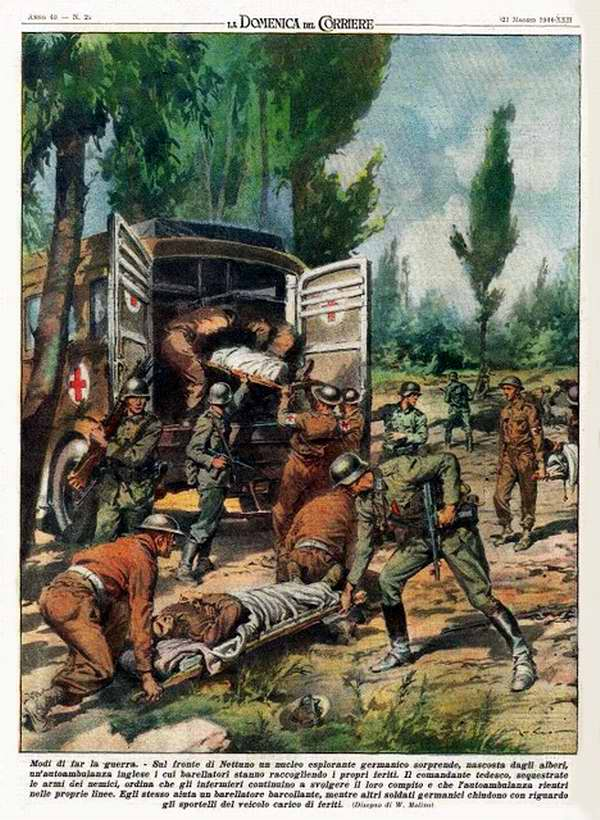 Немецкие солдаты проявляют чудеса изобретательности - незаметно подбираются к местам сбора британских раненых у линии фронта в целях восполнения запасов израсходованного стрелкового оружия и боеприпасов - Walter Molino