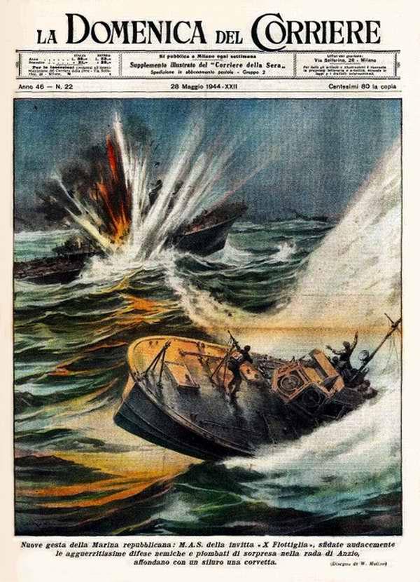 Новые подвиги моряков знаменитой 10-й флотилии торпедных катеров - атака в гавани Анцио, в результате которой был потоплен британский корвет< - Walter Molino