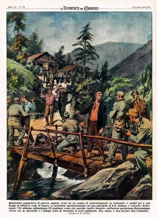 Четырнадцать британских военнопленных, которые бежали из концлагеря в сентябре, а затем присоединились к группе местных повстанцев в долине Lanzo, предпочли добровольно сдаться войскам СС - Walter Molino