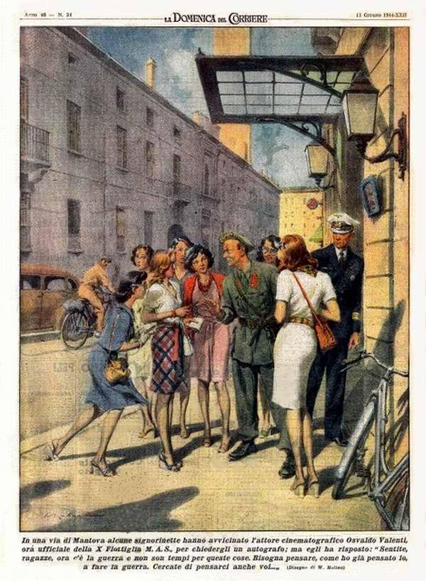 Несколько девушек из города Мантуи подошли к актеру Освальдо Валенти во время посещения им личного состава 10-й флотилии торпедных катеров, чтобы попросить у него автограф - Walter Molino