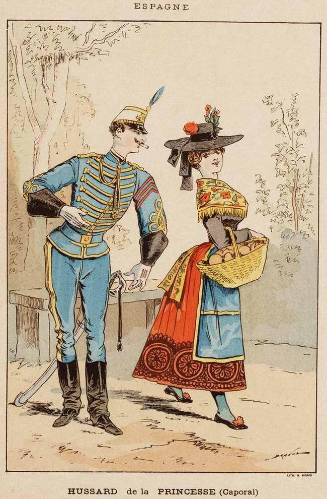 Испания - Гусар (капрал) из полка почетной охраны испанской принцессы (1850)