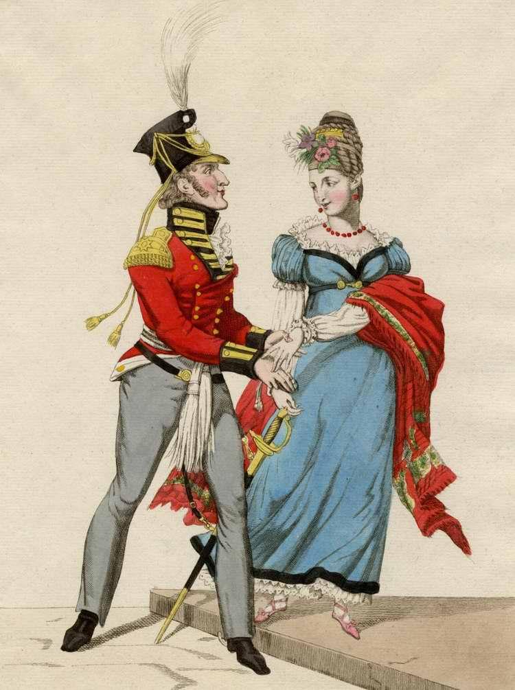 Уродливый англичанин пытается купить благосклонность французской красавицы за несколько золотых монет - 1815 (Франция)