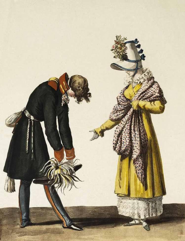 Русский офицер прощается с парижанкой  - 1816 (Франция)