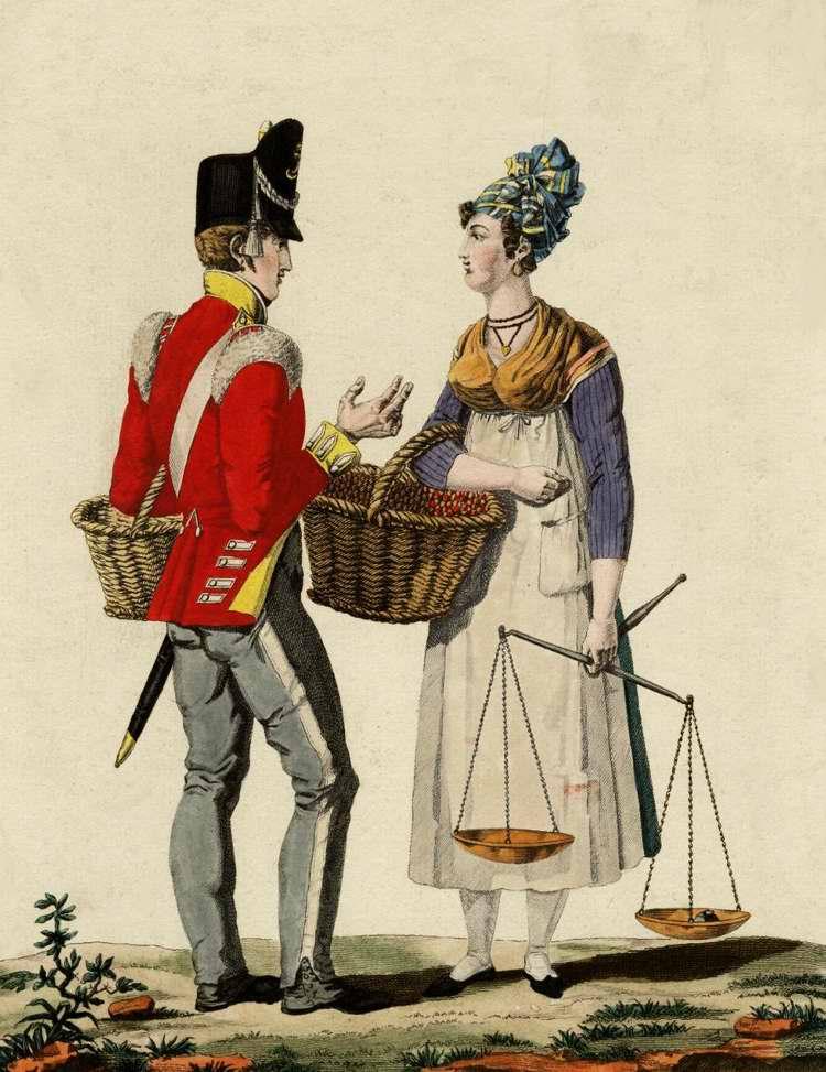 Британский солдат покупает вишню - 1815 (Франция)
