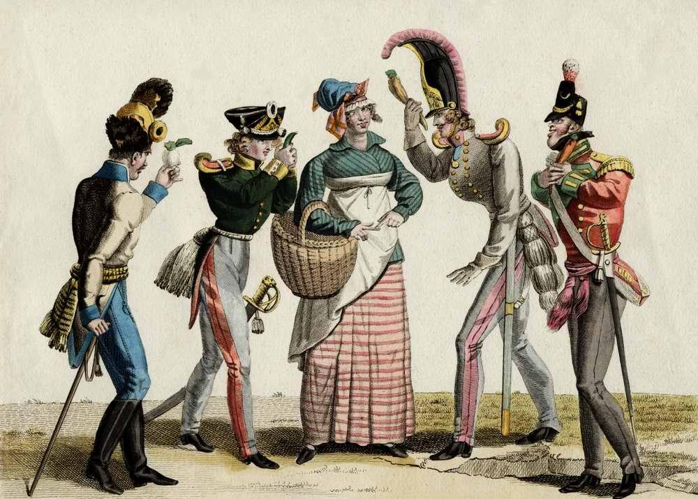 Венгерский гренадер, прусский егерь, русский кирасир и английский егерь соревнуются между собой в процессе завоевания благосклонности французской торговки - 1815 (Франция)