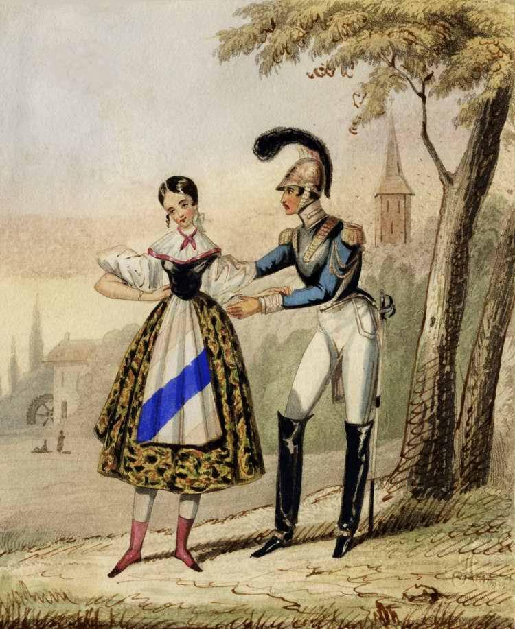 Баварский кирасир и девушка-крестьянка - 1820 (Германия)