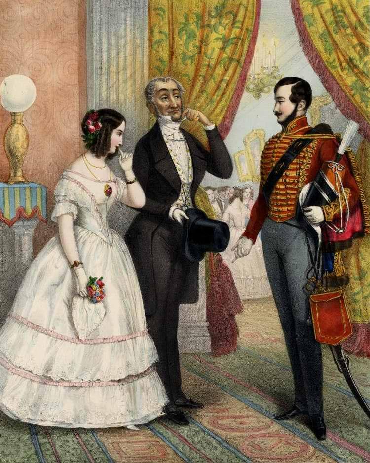 Господин  лейтенант, я имею честь представить вам мою жену! - 1846 (Германия)