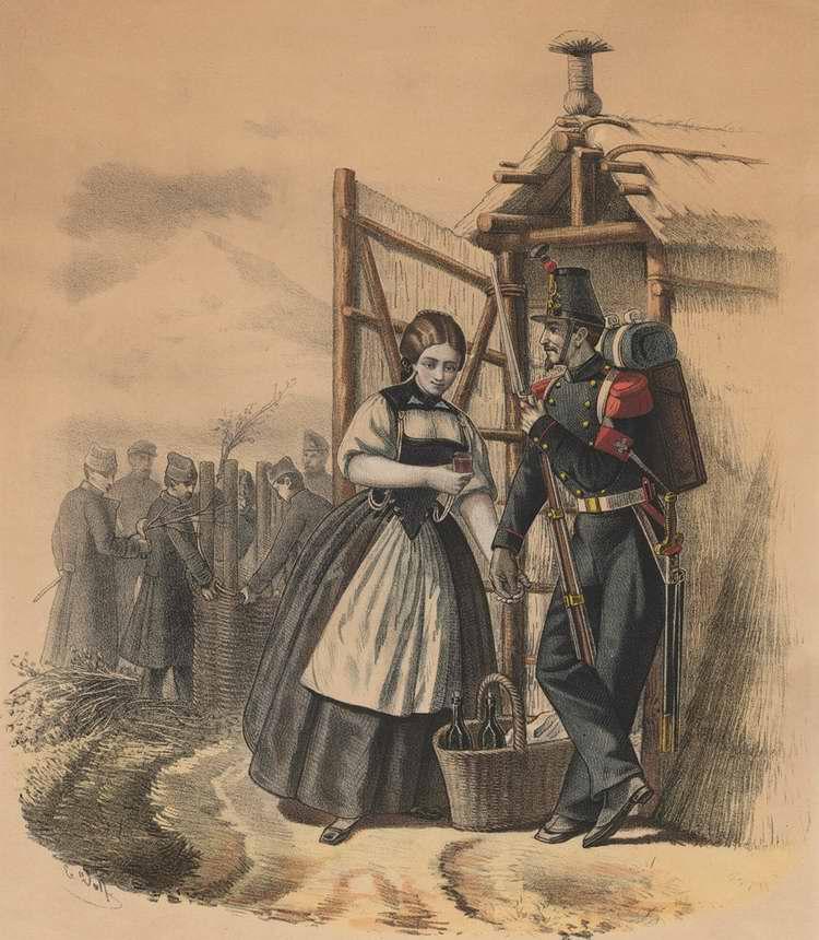 Швейцарский сапер любезничает с молоденькой торговкой - 1855 (Германия)