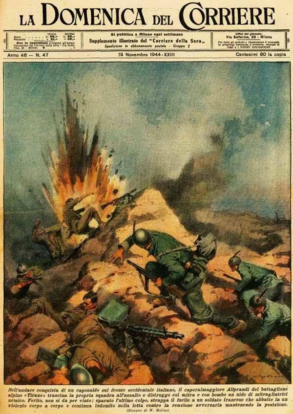 Во время атаки на вражеские позиции в горах солдаты одного из отделений итальянского батальона альпийских стрелков столкнулись с необходимостью подобраться к вражескому пулеметному гнезду и уничтожить его ручными гранатами - Walter Molino