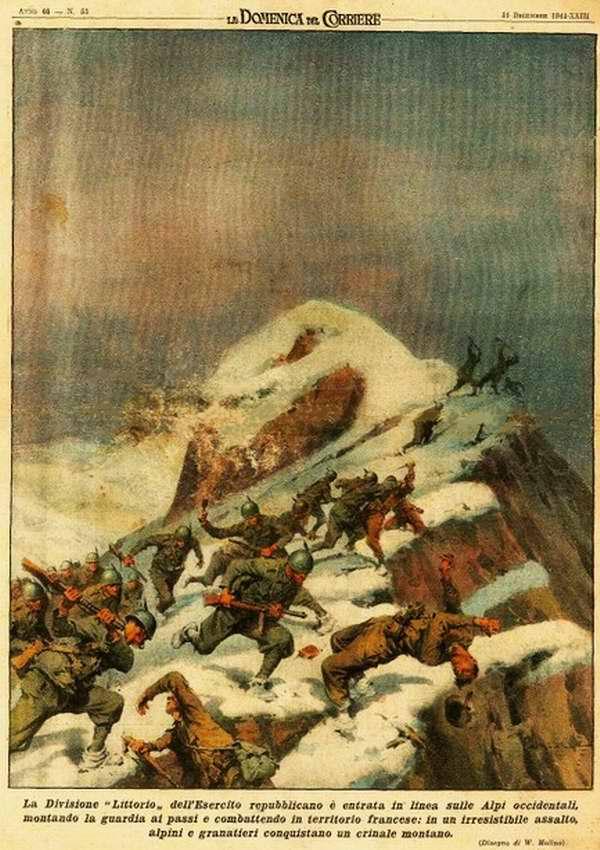Гренадеры дивизии Литторио итальянской республиканской армии прочно удерживают оборону вдоль линии границы в Западных Альпах - Walter Molino
