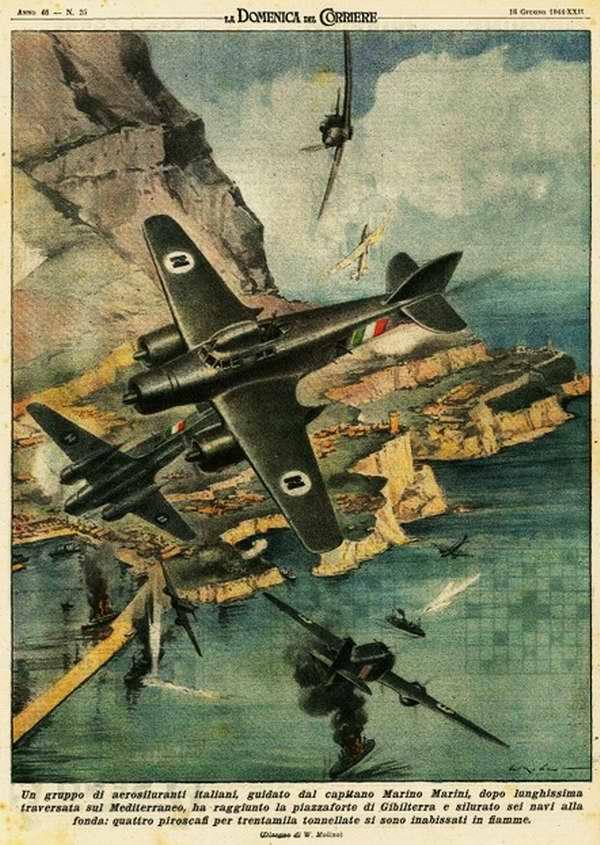 Группа итальянских самолетов-торпедоносцев после пересечения Средиземного моря, достигла британской крепости Гибралтар - Walter Molino