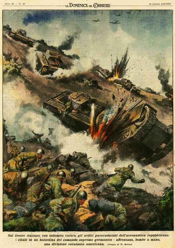 На итальянском фронте самоотверженно воюют десантники итальянских республиканских ВВС - Walter Molino