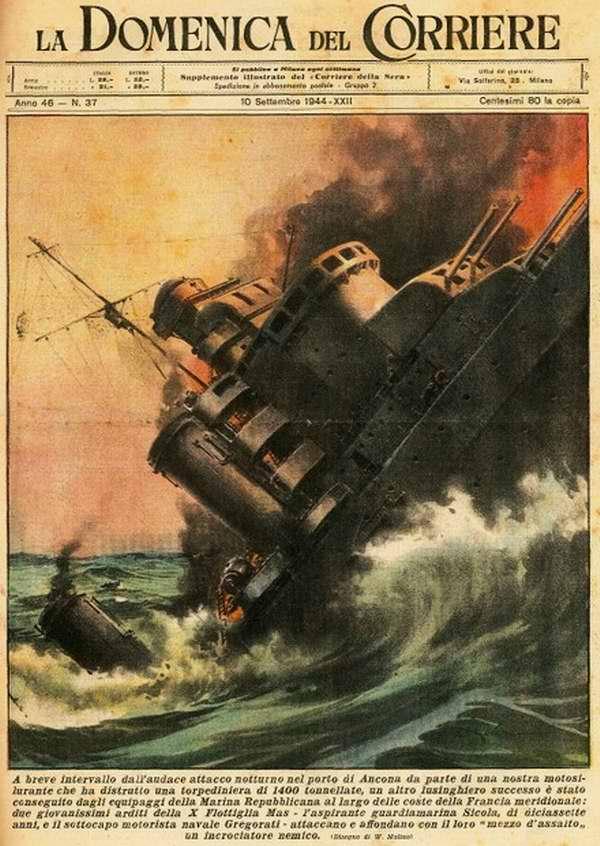 В результате ночной атаки на порт Анкона итальянским торпедным катером был уничтожен вражеский корабль водоизмещением 1400 тонн - Walter Molino