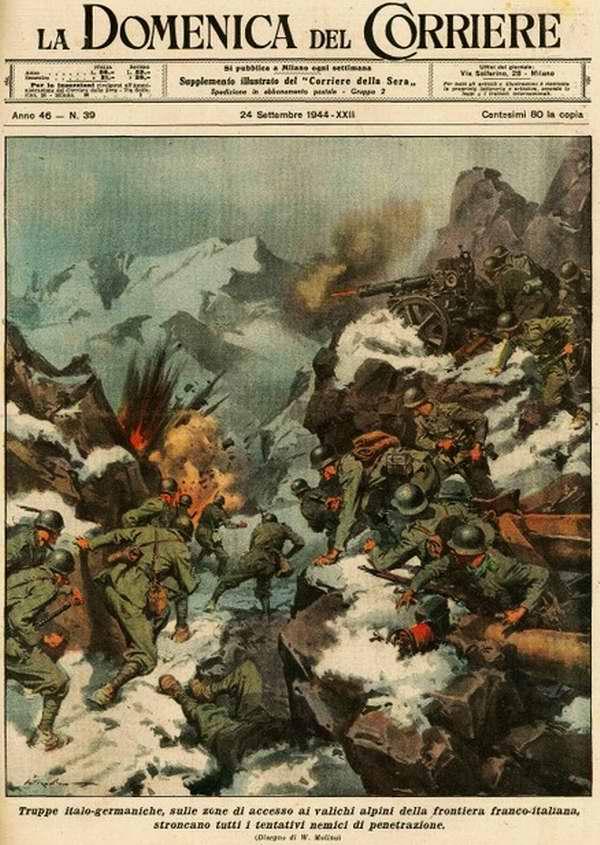 Группировка итальяно-немецких войск останавливает все попытки вторжения врага на итальянскую территорию со стороны Франции - Walter Molino