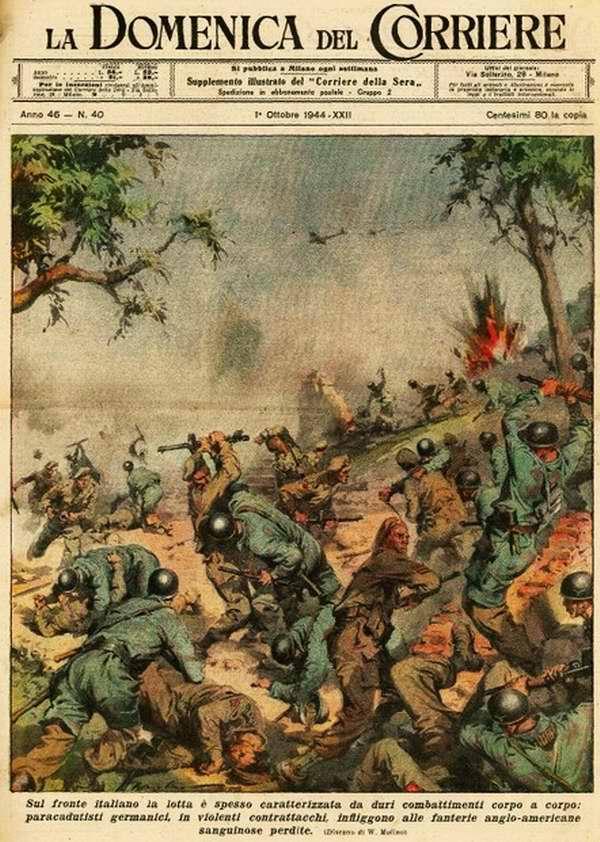 Немецкие десантники своими стремительными контратаками регулярно наносят англо-американской пехоте большие потери - Walter Molino