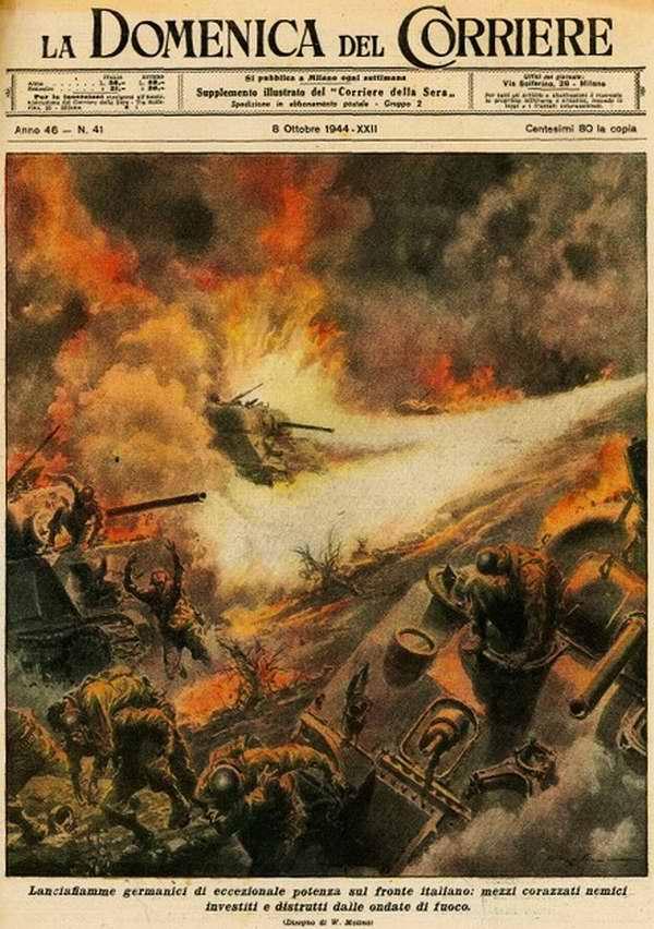 Немецкие огнеметы большой мощности на итальянском фронте - вражеская бронетехника оказывается уничтоженной волнами их огня - Walter Molino
