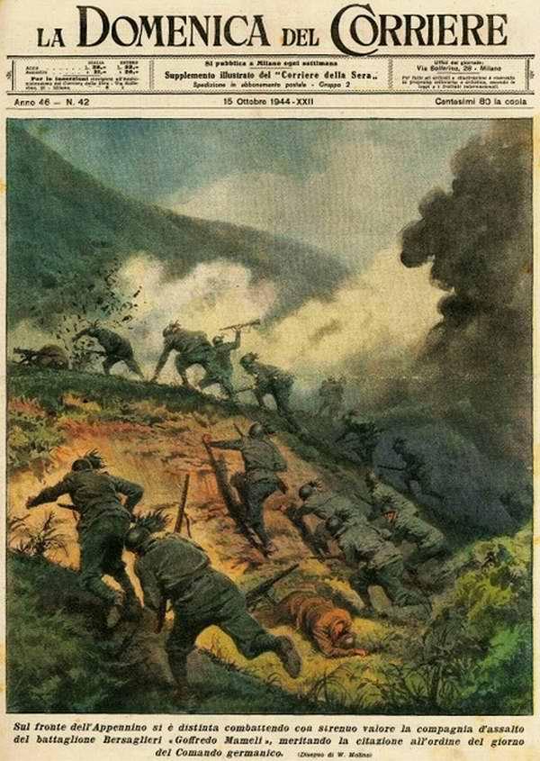 На южной стороне Апеннин напряженные бои с противником ведут штурмовые батальоны итальянских стрелков-берсальеров - Walter Molino