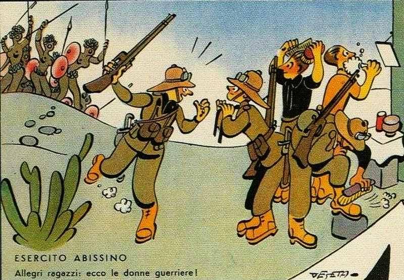 Солдаты радуются как дети: ведь им предстоит сражение с женщинами (Enrico De Seta)