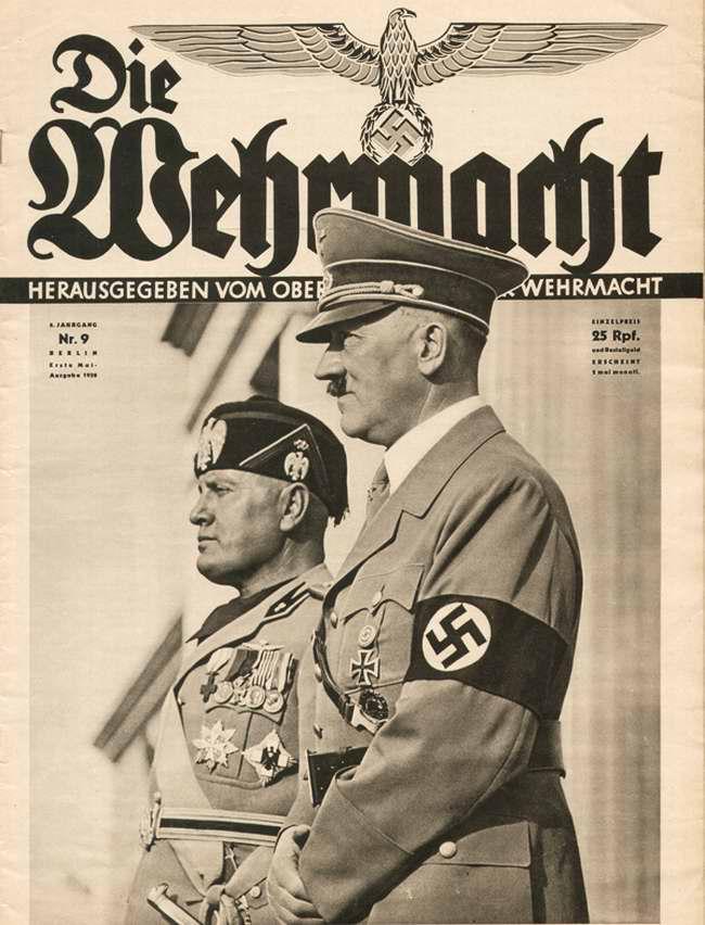 Гитлер и Муссолини на военном параде