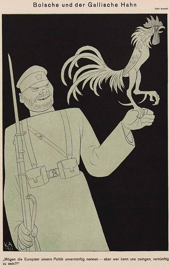 Большевики и галльский петух (Simplicissimus)
