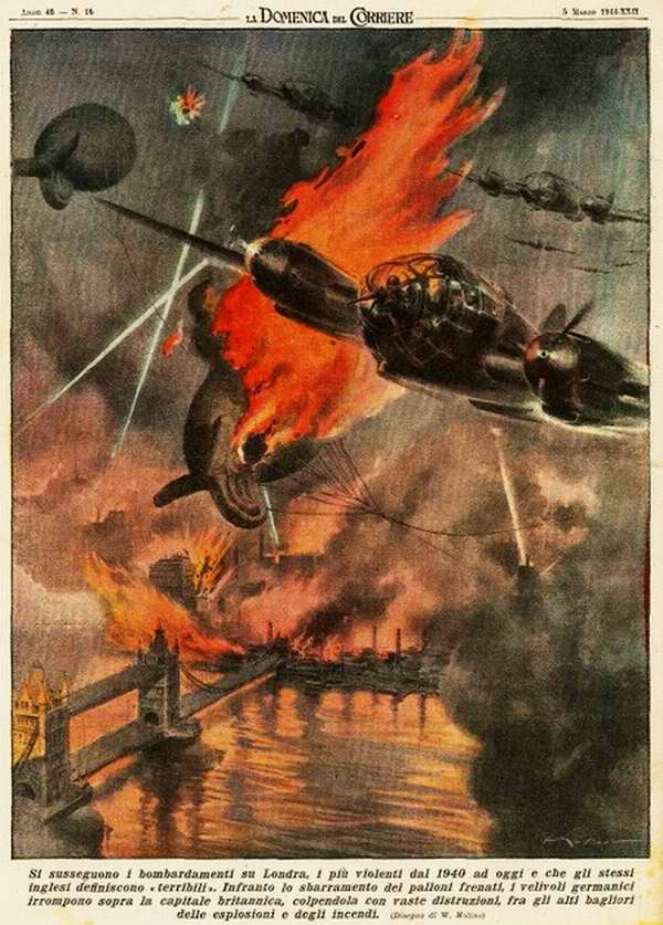 Начала осуществляться очередная волна бомбардировок Лондона - Walter Molino