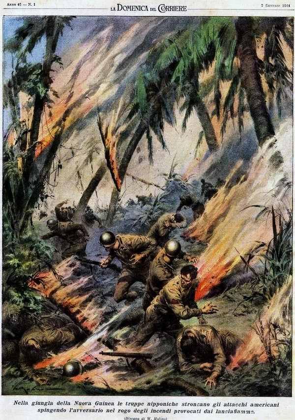 В джунглях Новой Гвинеи японские войска приостанавливают атаки американцев - Walter Molino
