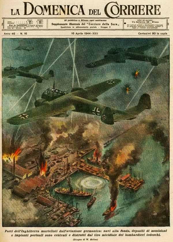 Порты Англии регулярно подвергаются атакам немецкой авиации - Walter Molino