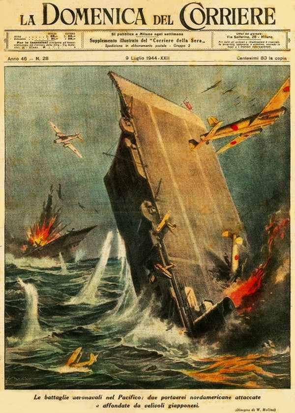 Морские сражения в Тихом океане - два авианосца ВМФ США были потоплены в результате осуществления на них воздушных атак японских самолетов - Walter Molino
