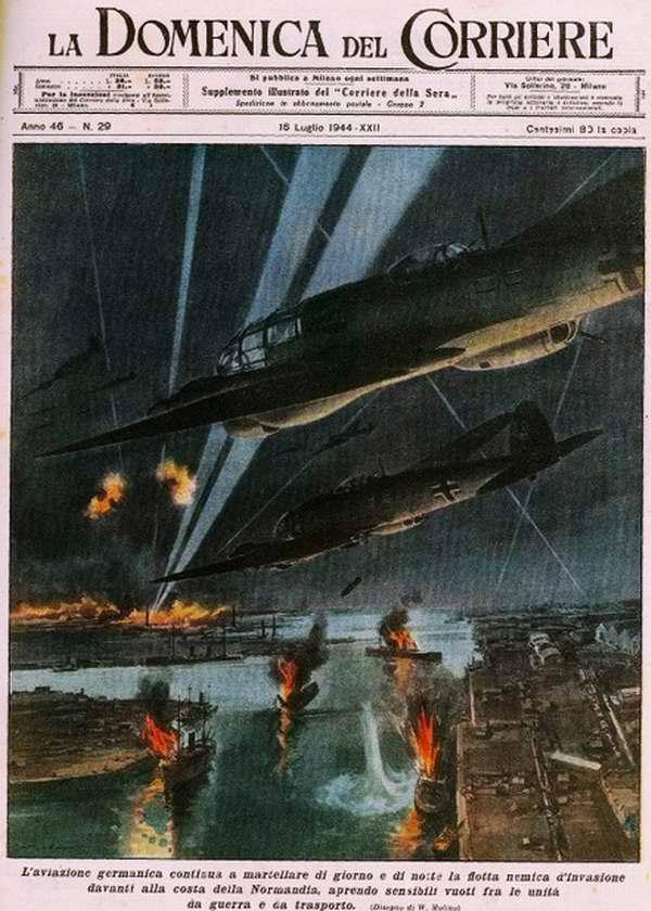 Немецкая авиация днем и ночью продолжает уничтожать неприятельский флот вторжения у берегов Нормандии - Walter Molino