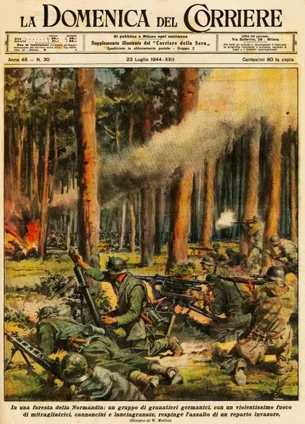 В лесах на территории Нормандии подразделения немецких гренадеров отражают натиск англо-американских войск вторжения - Walter Molino