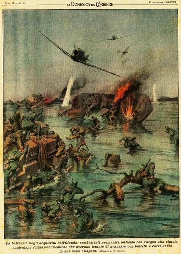 Сражение в заболоченных местностях Голландии - немецкие истребители, занимаются уничтожением атакующих подразделений вражеской армии - Walter Molino