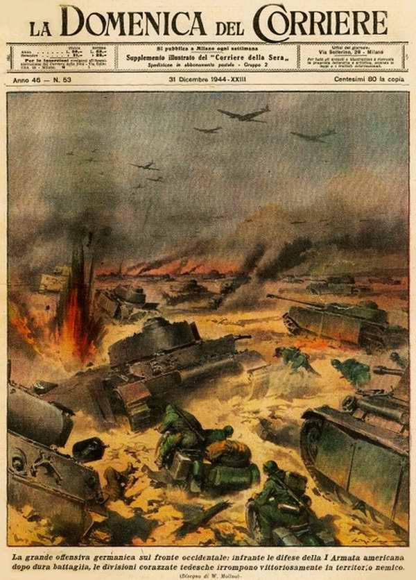 В ходе начавшегося крупного наступления немецких войск на западном фронте (Арденнская операция) оказалась сломанной оборона армии США - Walter Molino