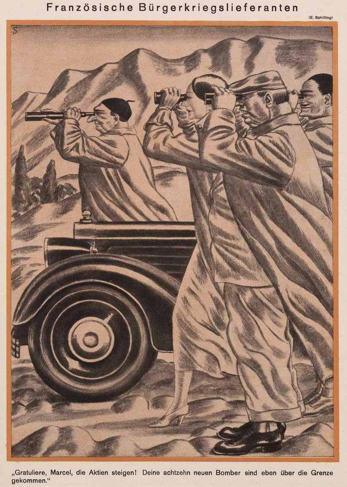 Французские наблюдатели за ходом гражданской войны в Испании (Simplicissimus)