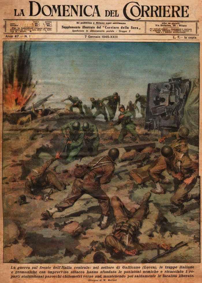 Подразделения итальянских и немецких войска в результате внезапной атаки на позиции противника прорвали его оборону и оттеснили войска армии США на несколько миль к югу - Walter Molino