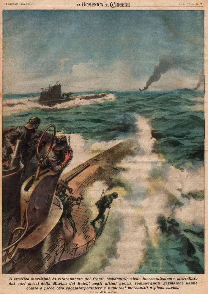 За последние дни немецкими подводными лодками были потоплены восемь эсминцев и большое количествоо груженых транспортых судов - Walter Molino