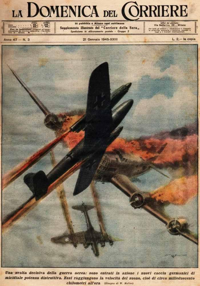Решающим поворотным пунктом в ходе войны в воздухе стал факт начала боевого применения новых немецких реактивных истребителей - Walter Molino