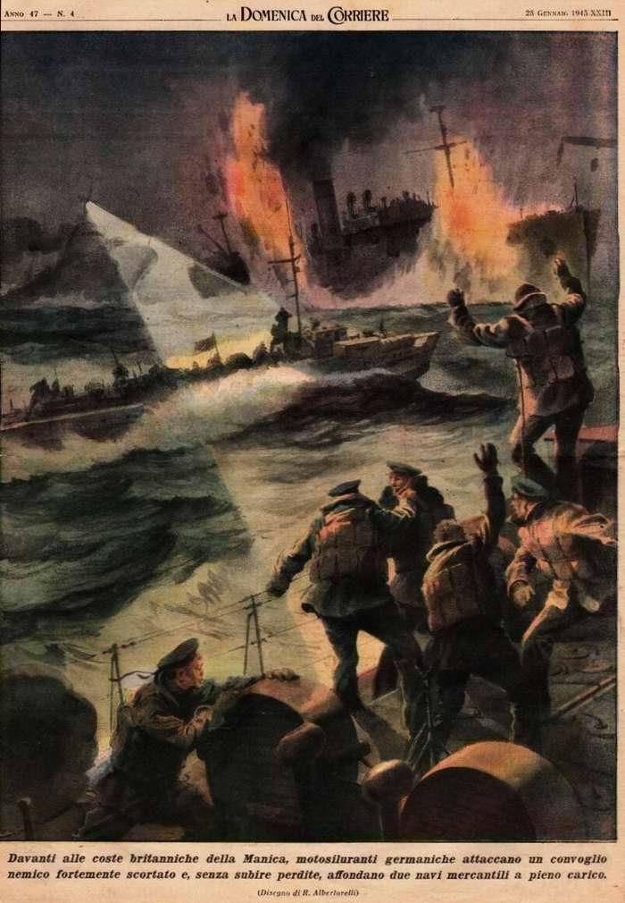 В проливе Ла-Манш немецкие торпедные катера без понесения потерь со своей стороны атаковали конвой противника и пустили ко дну два груженных транспортных судна - Walter Molino