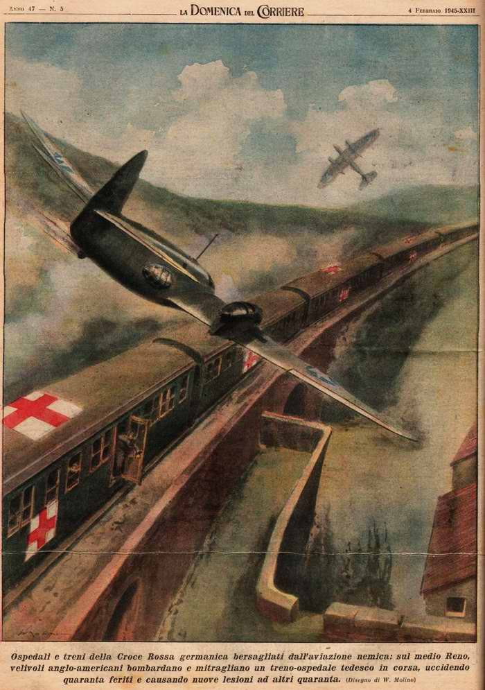В районе среднего Рейна авиация англо-американцев осуществила налет на санитарный поезд немецкого Красного креста - Walter Molino