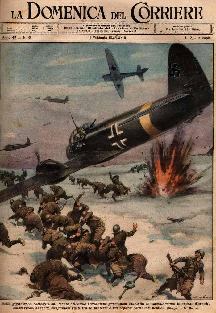 В ходе крупномасштабных сражений на Восточном фронте немецкая авиация непрерывно наносит волны ударов по силам большевистского вторжения - Walter Molino